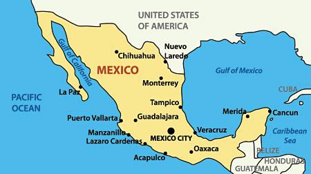 Mexico Honeymoon Regions - Mexico regions map