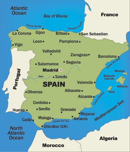 Map Of Southern Spain And Portugal.Spain And Portugal Honeymoon Regions