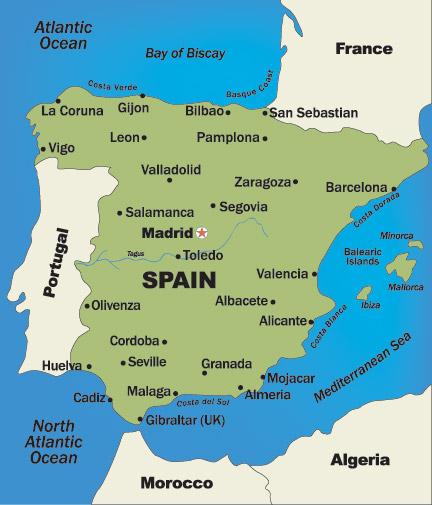 Spain And Portugal Honeymoon Regions - Map of portugal spain